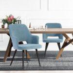 New Velvet Upholstered Dining Chair Set of 2, with Curved Backrest, and Metal Legs, for Restaurant, Cafe, Tavern, Office, Living Room – Light Blue