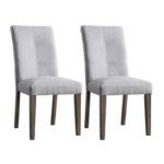 New Linen Upholstered Dining Chair Set of 2, with High Backrest, and Wood Frame, for Restaurant, Cafe, Tavern, Office, Living Room – Light Gray