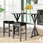 New TOPMAX 3 Piece Counter Height Wood Dining Set, Including 1 Table and 2 Stools, for Kitchen, Living Room, Bar, Restaurant, Cafe, Small Places – Gray