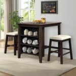 New TOPMAX 3 Piece Dining Set, Including 1 Dining Table with Storage Shelf, and 2 Padded Stools, for Small Apartment, Studio, Kitchen – Brown