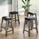 New TOPMAX 4 Pieces Counter Height Upholstered Dining Stool Set, for Small Apartment, Studio, Kitchen – Gray