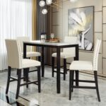 New TOPMAX 5 Piece Dining Set, Including 1 Counter Height Faux Marble Table, and 4 Chairs, for Family, Apartment, Studio, Kitchen – Beige