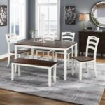New TOPMAX 6 Piece Wooden Dining Set, Including 1 Table, 1 Bench, and 4 Chairs, for Small Apartment, Studio, Kitchen – Ivory + Cherry