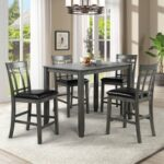 New TOPMAX 5 Piece Dining Set, Including 1 Counter Height Wood Table, and 4 Chairs, for Family, Apartment, Studio, Kitchen – Gray