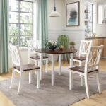 New TOPMAX 5 Piece Dining Set, Including 1 Round Folding Wood Table, and 4 Cross Back Chairs, for Small Apartment, Studio, Kitchen – White + Cherry