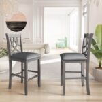New TOPMAX Upholstered Counter Height Dining Chair Set of 2, with Cross Back, and Wooden Frame, for Restaurant, Cafe, Tavern, Office, Living Room – Gray