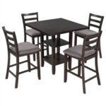 New TREXM 5 Piece Dining Set, Including 1 Square Counter Height Table with 2-Layer Storage Shelf, and 4 Padded Chairs, for Small Apartment, Studio, Kitchen – Espresso