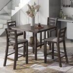 New TREXM 5 Piece Dining Set, Including 1 Counter Height Table with Storage Shelf, and 4 Padded Chairs, for Small Apartment, Studio, Kitchen – Espresso