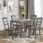 New TREXM 5 Piece Dining Set, Including 1 Wood Table, and 4 Chairs, for Small Apartment, Studio, Kitchen – Gray