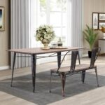 New TREXM 2 Piece Dining Set, Including 1 Rectangular Table, and 1 Bench with Metal Legs, for Small Apartment, Studio, Kitchen – Brown
