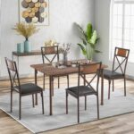 New TREXM 5 Piece Dining Set, Including 1 Wooden Table, and 4 Padded Chairs, for Family, Apartment, Studio, Kitchen – Brown