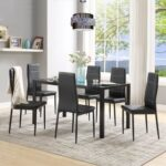 New U-STYLE 7 Piece Dining Set, Including 1 Glass Table and 6 Leather Chairs, for Kitchen, Living Room, Bar, Restaurant, Cafe – Black