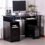 New Home Office Computer Desk with Keyboard Tray and Storage Drawers, for Game Room, Office, Study Room – Espresso