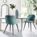 New Velvet Upholstered Dining Chair Set of 2, with Curved Backrest, and Metal Legs, for Restaurant, Cafe, Tavern, Office, Living Room – Green