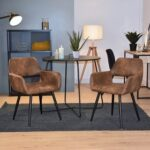 New Fabric Upholstered Dining Chair, with Curved Backrest, and Metal Legs, for Restaurant, Cafe, Tavern, Office, Living Room – Brown