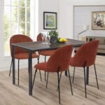 New Polyester Upholstered Dining Chair Set of 2, with Curved Backrest, and Metal Legs, for Restaurant, Cafe, Tavern, Office, Living Room – Orange