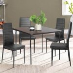 New PU Leather  Upholstered Dining Chair Set of 4, with High Backrest, and Metal Frame, for Restaurant, Cafe, Tavern, Office, Living Room – Black