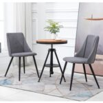 New Velvet Upholstered Dining Chair Set of 2, with Curved Backrest, and Metal Legs, for Restaurant, Cafe, Tavern, Office, Living Room – Gray