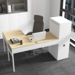 New Home Office L-shaped Computer Desk with Metal Storage Cabinet and MDF Tabletop, for Game Room, Office, Study Room – White