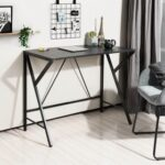 New Home Office Computer Desk with Wooden Tabletop and Metal Frame, for Game Room, Office, Study Room, Small Space – Black