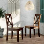 New TOPMAX 2 Piece X-Back Wood Breakfast Nook Dining Chair Set, for Small Apartment, Studio, Kitchen – Brown