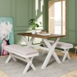 New TOPMAX 3 Piece Farmhouse Rustic Wood Dining Set, Including 1 Table, and 2 Upholstered Benches, for Small Apartment, Studio, Kitchen – White + Brown
