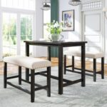 New TOPMAX 3 Pieces Rustic Wooden Counter Height Dining Table Set with 2 Upholstered Benches, for Small Places – Espresso + Beige