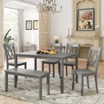 New TOPMAX 6 Piece Farmhouse Rustic Wooden Dining Set, Including 1 Table, 1 Bench, and 4 Chairs with Cross Back, for Small Apartment, Studio, Kitchen – Gray Wash