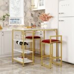 New TOPMAX 3 Piece Counter Height Dining Set, Including 1 Table and 2 Upholstered Bar Stools, with 4 Glass Holders,2 Wine Racks and 3 Open Storage Shelves, for Small Places – Gold