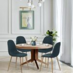 New Velvet Upholstered Dining Chair Set of 4, with Curved Backrest, and Metal Legs, for Restaurant, Cafe, Tavern, Office, Living Room – Navy