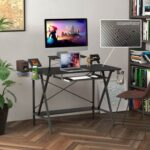 New Home Office 47″ Computer Desk with PC Stand, Keyboard Tray, MDF Tabletop and Metal Frame, for Game Room, Small Space, Study Room – Black