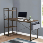 New Home Office 47″ Computer Desk with Storage Shelves, Side Bag, MDF Tabletop and Metal Legs, for Game Room, Study Room, Small Space – Brown