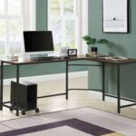 New ACME Dazenus 66″ L-shaped Computer Desk with Wooden Tabletop and Metal Frame, for Game Room, Small Space, Study Room – Black