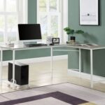 New ACME Dazenus 66″ L-shaped Computer Desk with Wooden Tabletop and Metal Frame, for Game Room, Small Space, Study Room – Gray