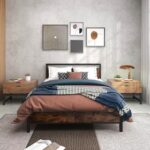 New Bed Frame with Wooden Headboard Metal Slats – Rustic Brown