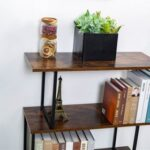 New S-Shaped 3 Tier Display Shelf Bookcase Freestanding Multifunctional Decorative Storage Shelving – Vintage Brown