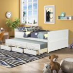 New Full Size Platform Bed Frame with Twin Size Trundle, 3 Storage Drawers, and Wooden Slats Support, No Box Spring Needed (Only Frame) – White