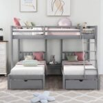 New Full-Over-Twin Size Detachable Bunk Bed Frame with 2 Storage Drawers, Ladder, and Wooden Slats Support, for Kids, Teens, Boys, Girls (Frame Only) – Gray