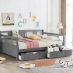 New Full Size Daybed with 2 Storage Drawers, and Wooden Slats Support, Space-saving Design, No Box Spring Needed – Gray