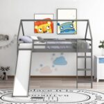 New Full-Size Loft Bed Frame with Slide and Wooden Slats Support, No Box Spring Required, for Kids, Teens, Boys, Girls (Frame Only) – Gray