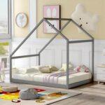 New Full Size House-shaped Platform Bed Frame, Box Spring Needed (Only Frame) – Gray