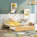 New Full Size House-shaped Platform Bed Frame with Twin Size Trundle, and Wooden Slats Support, No Box Spring Needed (Only Frame) – Natural