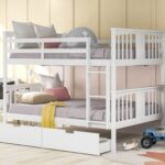 New Full-Over-Full Size Bunk Bed Frame with 2 Storage Drawers, Ladder, and Wooden Slats Support, for Kids, Teens, Boys, Girls (Frame Only) – White