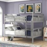 New Full-Over-Full Size Bunk Bed Frame with Ladder, and Wooden Slats Support, for Kids, Teens, Boys, Girls (Frame Only) – Gray