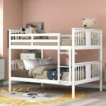 New Full-Over-Full Size Bunk Bed Frame with Ladder, and Wooden Slats Support, for Kids, Teens, Boys, Girls (Frame Only) – White