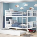 New Full-Over-Full Size Bunk Bed Frame with Twin-Size Trundle, Ladder, and Wooden Slats Support, for Kids, Teens, Boys, Girls (Frame Only) – White