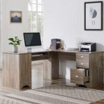 New Home Office L-shaped Computer Desk with Storage Cabinet, 3 Drawers, and MDF Frame, for Game Room, Small Space, Study Room – Brown
