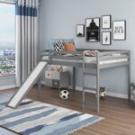 New Full-Size Loft Bed Frame with Slide, Ladder and Wooden Slats Support, No Box Spring Required, for Kids, Teens, Boys, Girls (Frame Only) – Gray