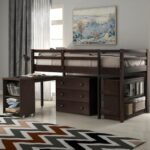 New Twin-Size Loft Bed Frame with Storage Drawers, Rolling Portable Desk, and Wooden Slats Support, No Box Spring Required, for Kids, Teens, Boys, Girls (Frame Only) – Espresso