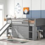 New Twin-Size Loft Bed Frame with Storage Cabinets, Shelves, Slide, and Wooden Slats Support, No Box Spring Required, for Kids, Teens, Boys, Girls (Frame Only) – Gray